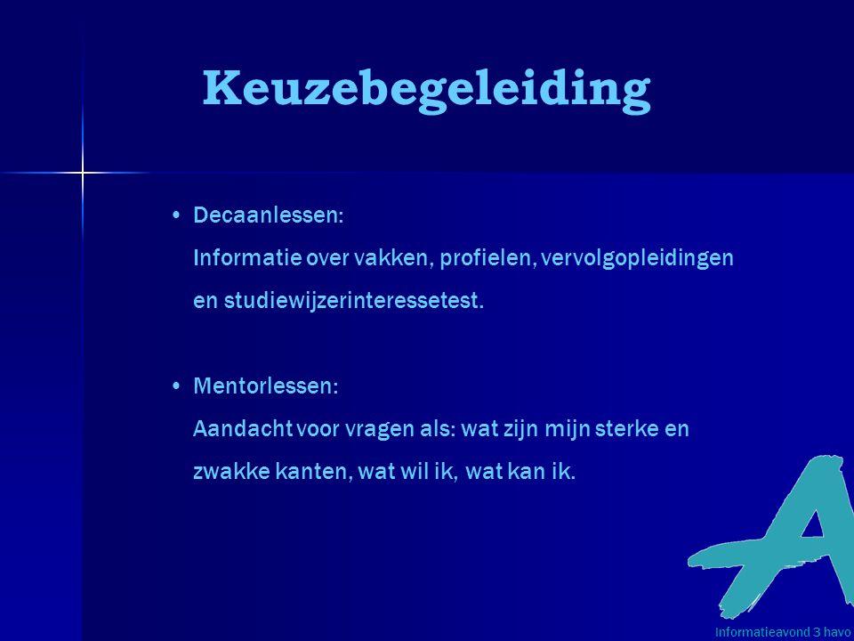Keuzebegeleiding Decaanlessen: Informatie over vakken, profielen, vervolgopleidingen en studiewijzerinteressetest.