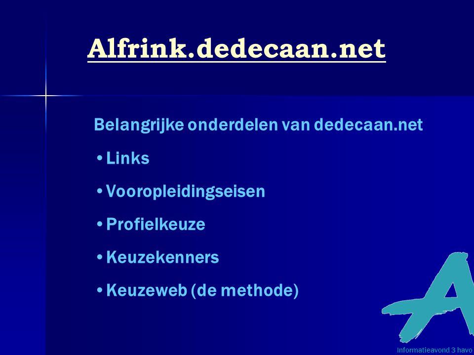 Alfrink.dedecaan.net Belangrijke onderdelen van dedecaan.net Links