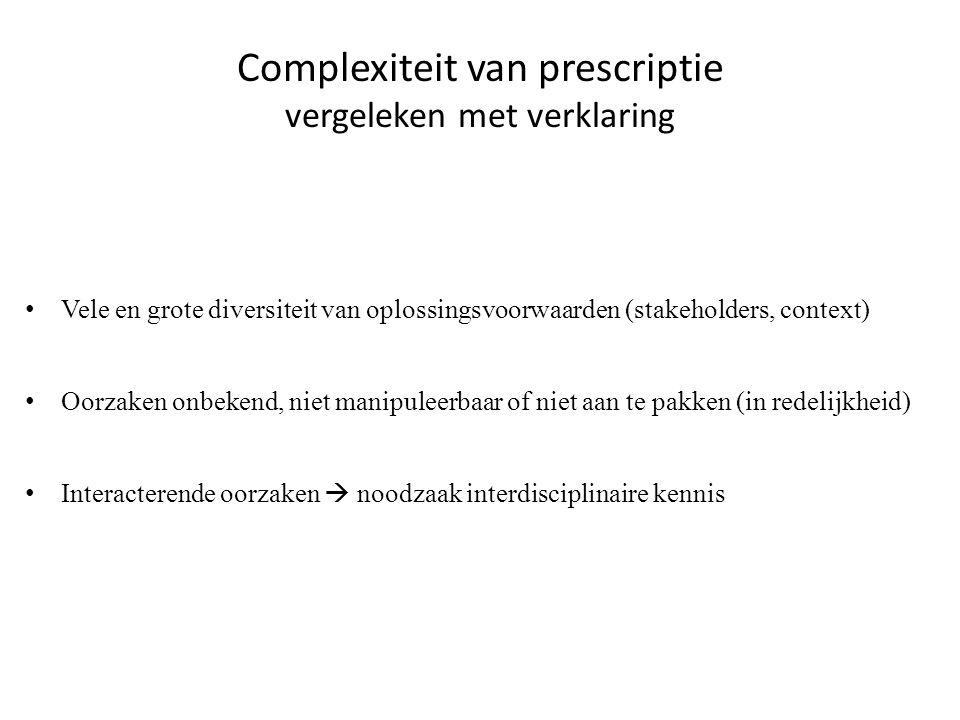 Complexiteit van prescriptie vergeleken met verklaring