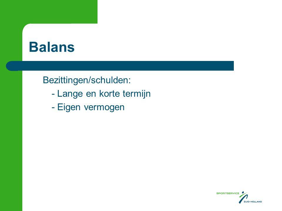 Balans Bezittingen/schulden: - Lange en korte termijn - Eigen vermogen