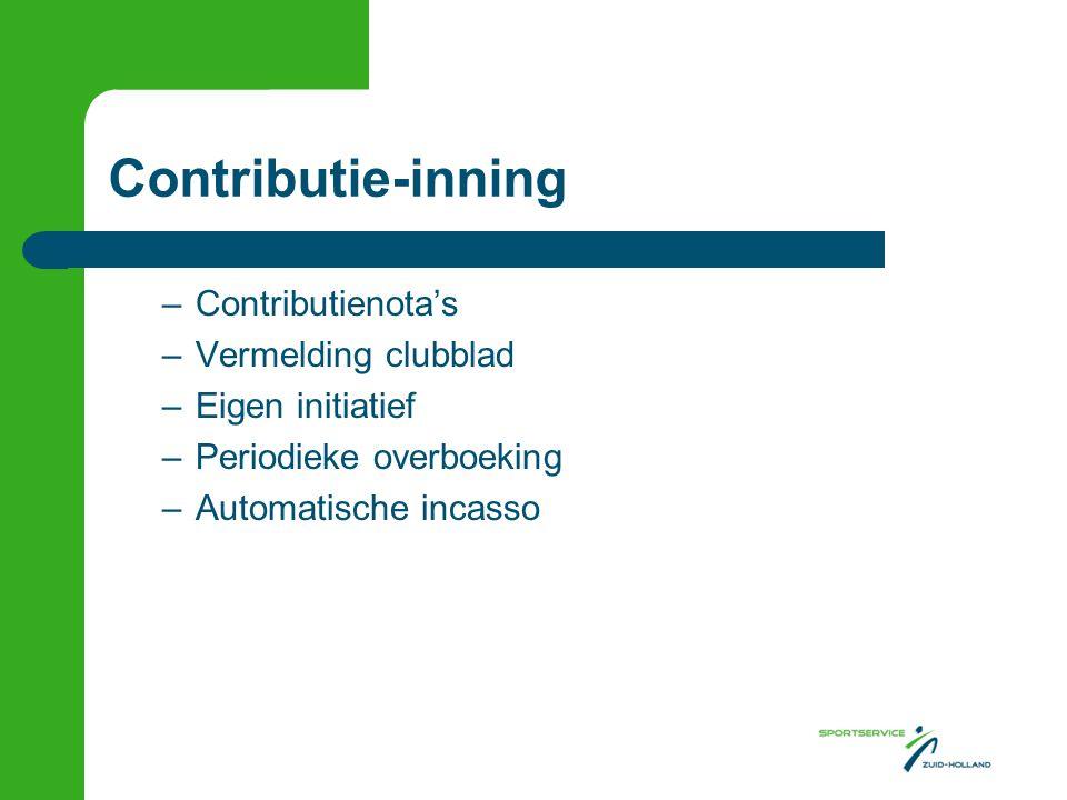 Contributie-inning Contributienota's Vermelding clubblad