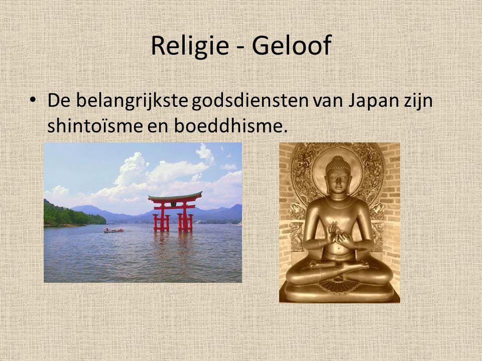 Religie - Geloof De belangrijkste godsdiensten van Japan zijn shintoïsme en boeddhisme.