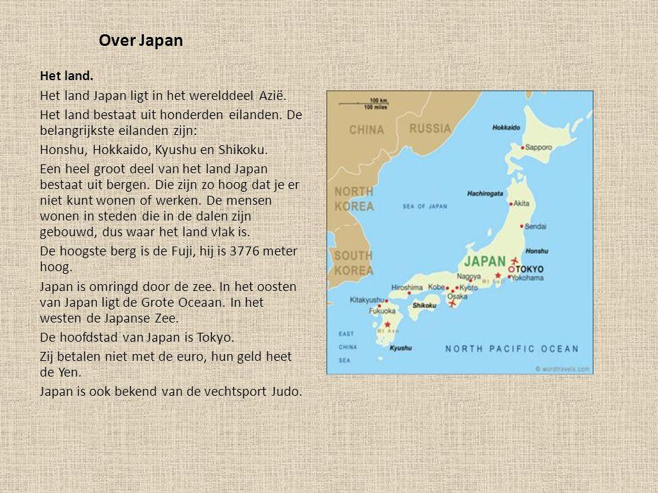 Over Japan Het land. Het land Japan ligt in het werelddeel Azië.