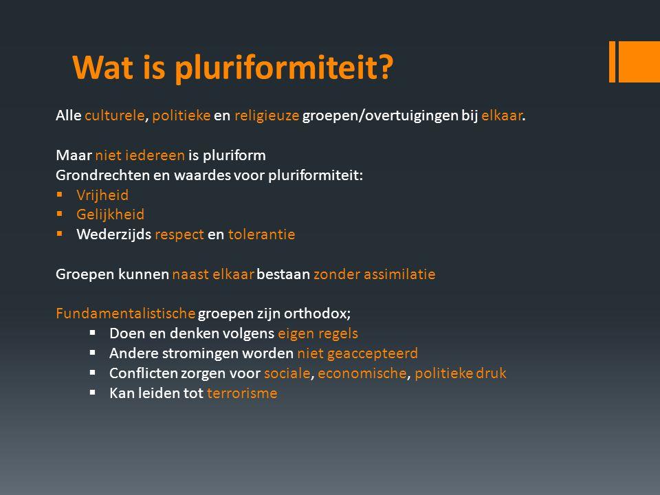 Wat is pluriformiteit Alle culturele, politieke en religieuze groepen/overtuigingen bij elkaar. Maar niet iedereen is pluriform.