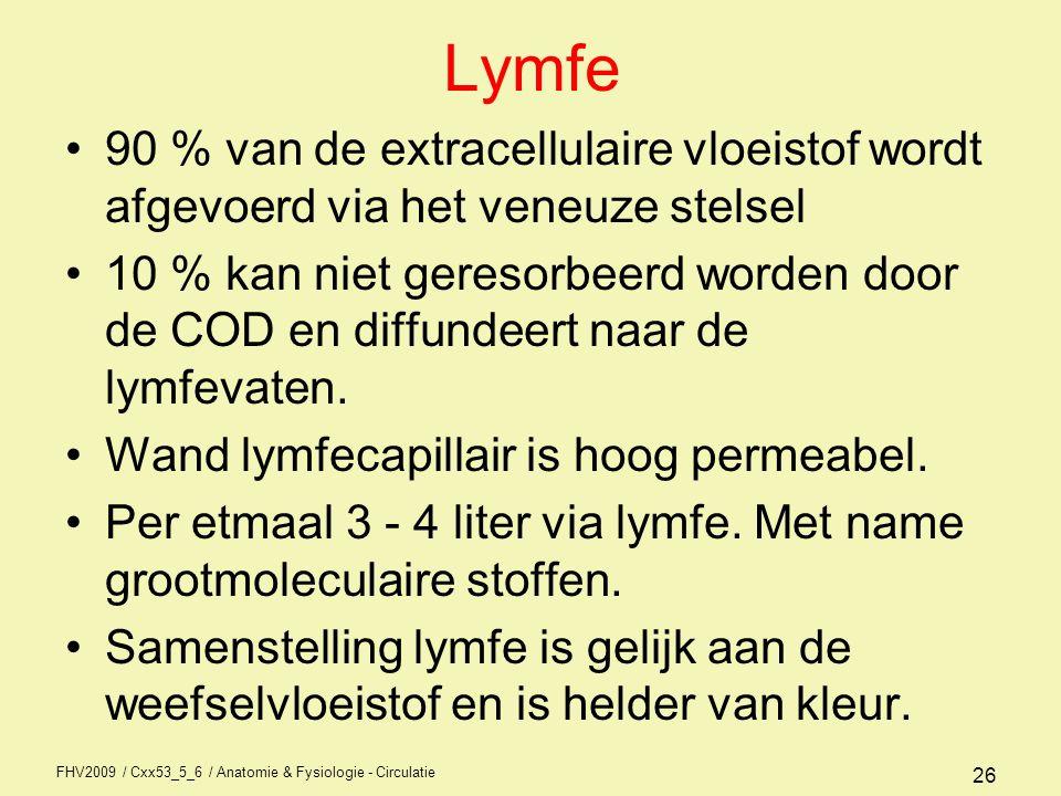 Lymfe 90 % van de extracellulaire vloeistof wordt afgevoerd via het veneuze stelsel.