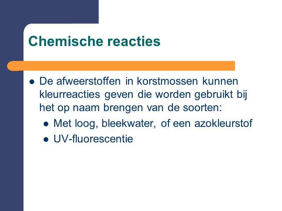 Chemische reacties De afweerstoffen in korstmossen kunnen kleurreacties geven die worden gebruikt bij het op naam brengen van de soorten: