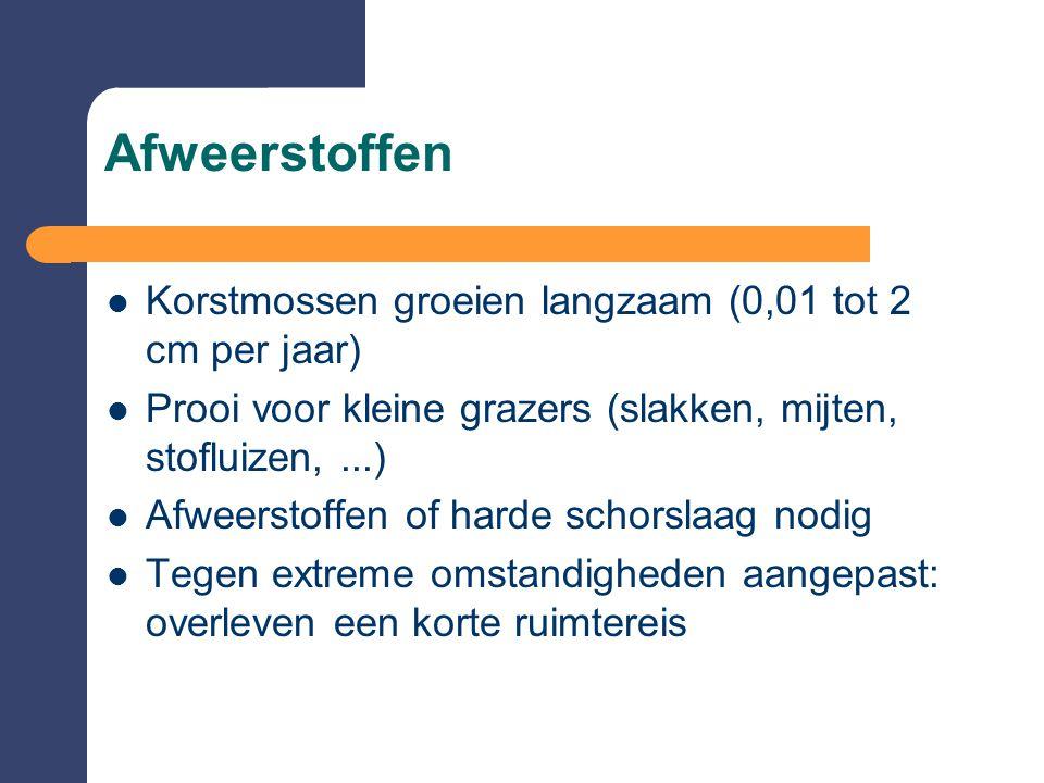 Afweerstoffen Korstmossen groeien langzaam (0,01 tot 2 cm per jaar)