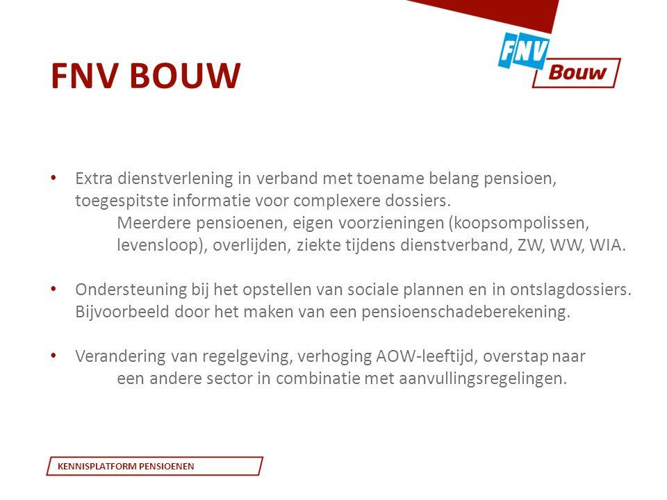 FNV Bouw Extra dienstverlening in verband met toename belang pensioen, toegespitste informatie voor complexere dossiers.