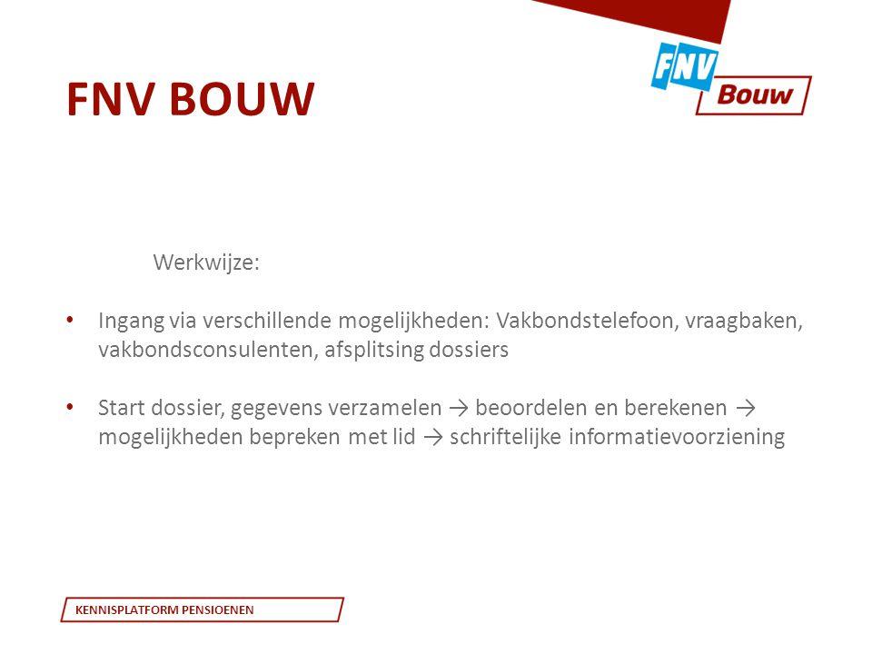 FNV Bouw Werkwijze: Ingang via verschillende mogelijkheden: Vakbondstelefoon, vraagbaken, vakbondsconsulenten, afsplitsing dossiers.