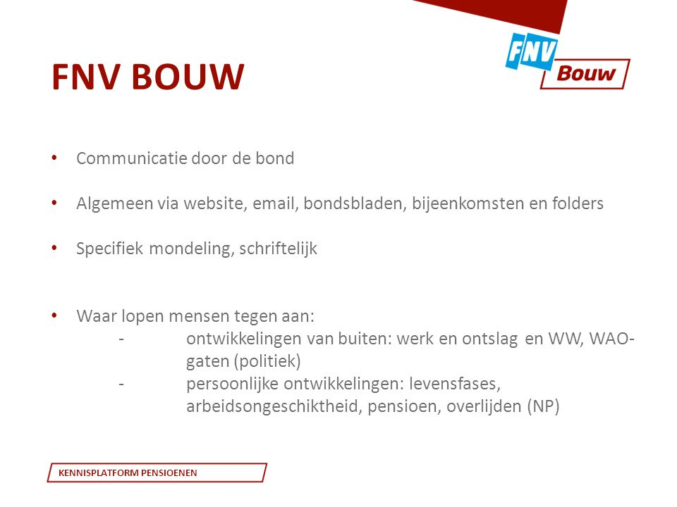 FNV Bouw Communicatie door de bond