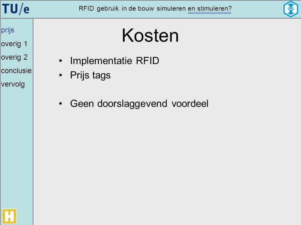 Kosten Implementatie RFID Prijs tags Geen doorslaggevend voordeel