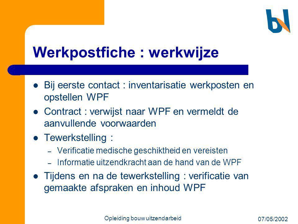 Werkpostfiche : werkwijze