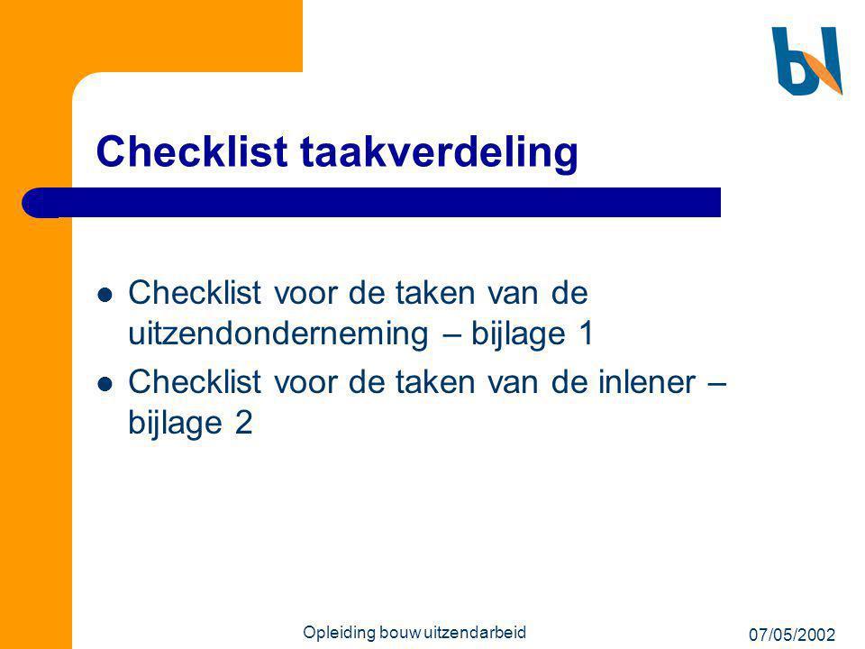Checklist taakverdeling