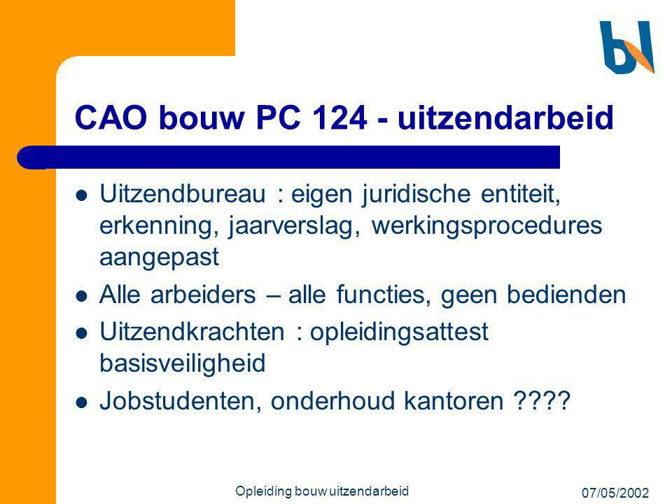 CAO bouw PC 124 - uitzendarbeid