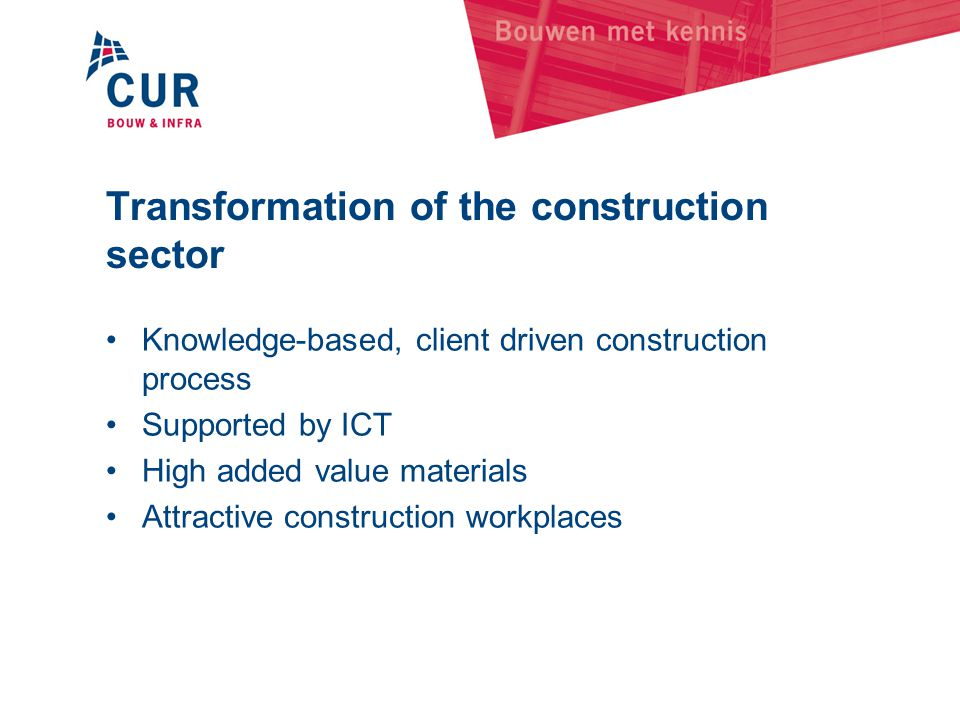 Transformation of the construction sector
