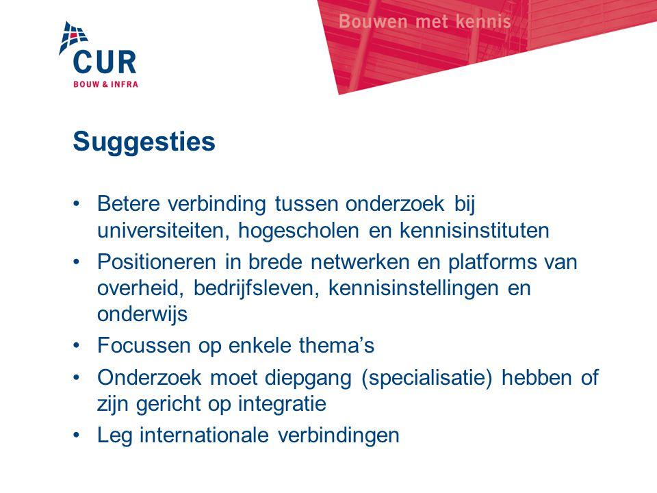 Suggesties Betere verbinding tussen onderzoek bij universiteiten, hogescholen en kennisinstituten.