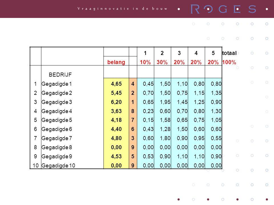1. 2. 3. 4. 5. totaal. belang. 10% 30% 20% 100% BEDRIJF. Gegadigde 1. 4,65. 0,45. 1,50.