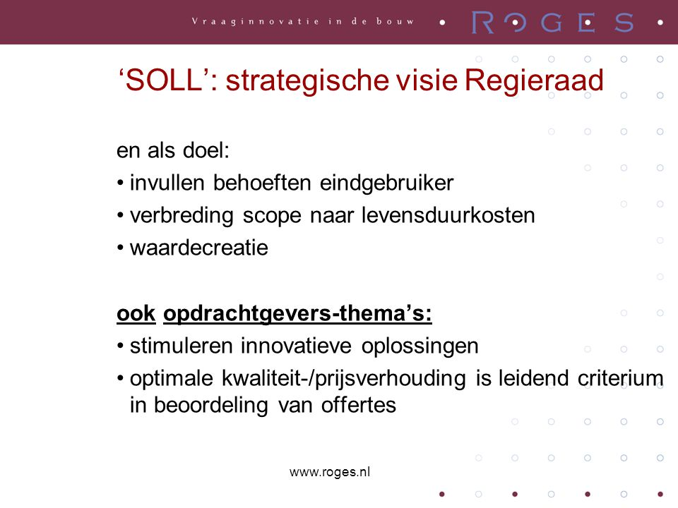 'SOLL': strategische visie Regieraad