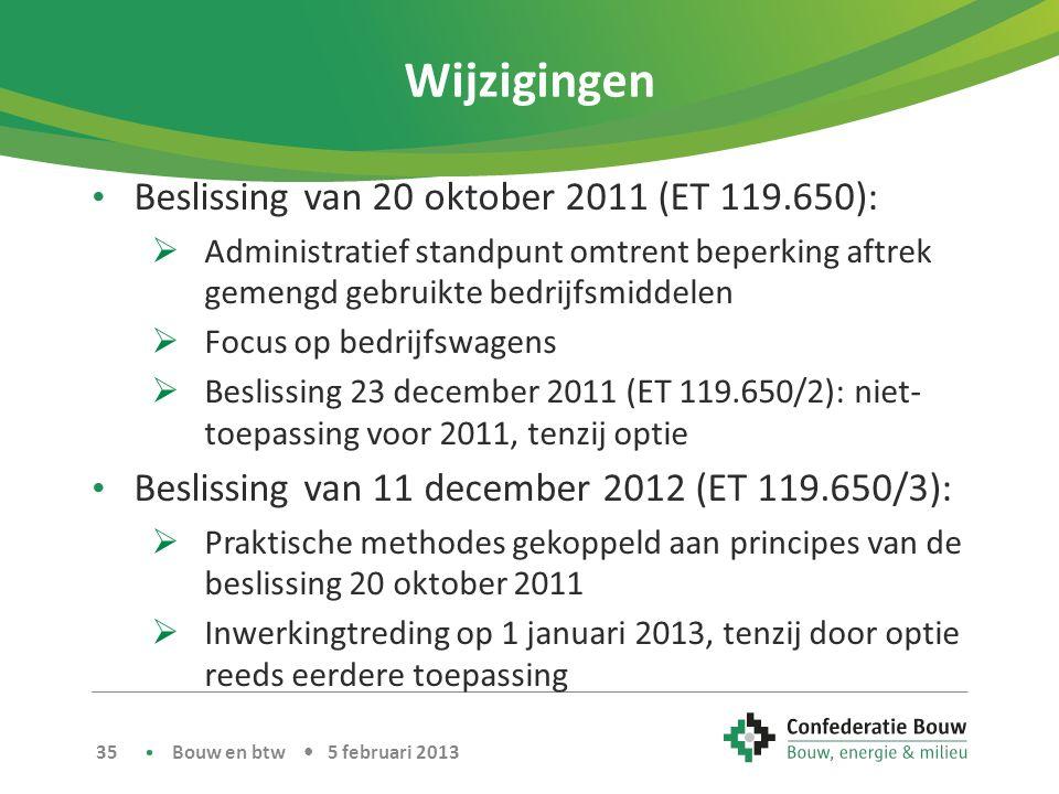 Wijzigingen Beslissing van 20 oktober 2011 (ET 119.650):