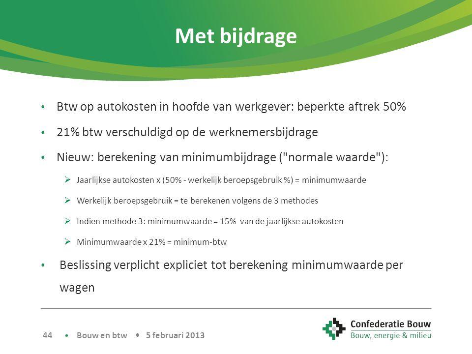 Met bijdrage Btw op autokosten in hoofde van werkgever: beperkte aftrek 50% 21% btw verschuldigd op de werknemersbijdrage.