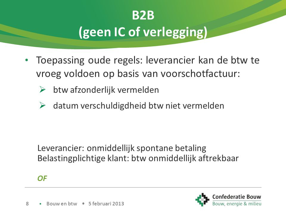 B2B (geen IC of verlegging)