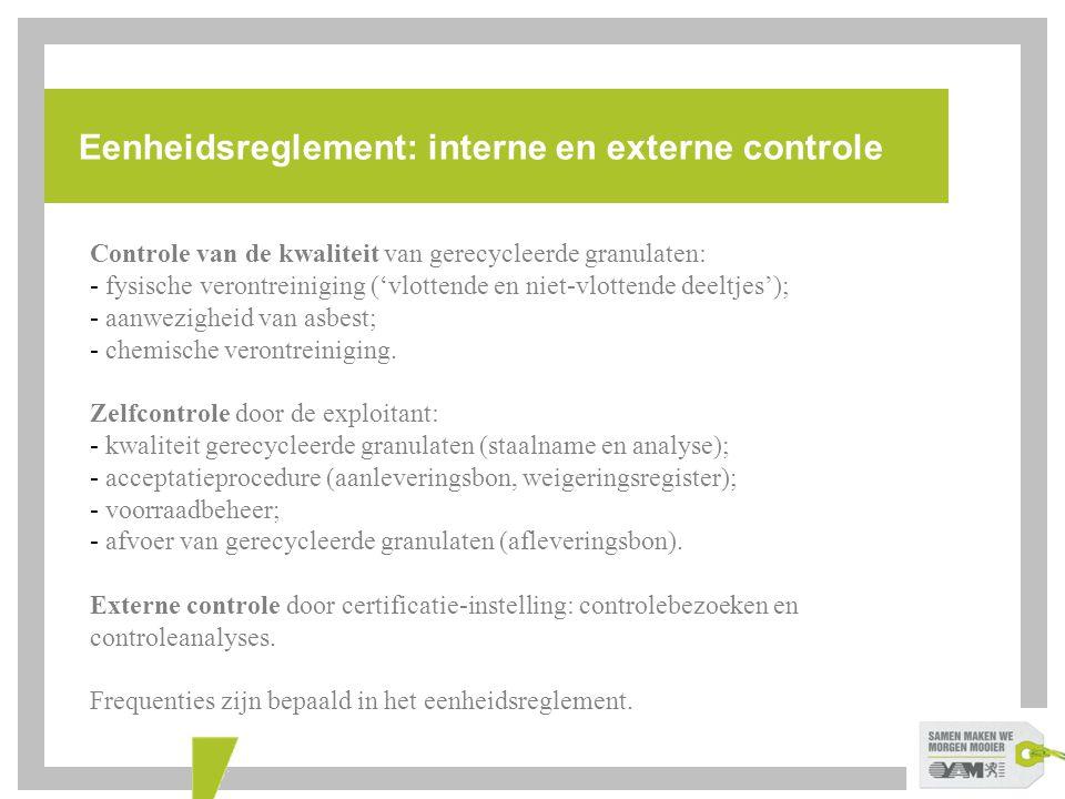 Eenheidsreglement: interne en externe controle