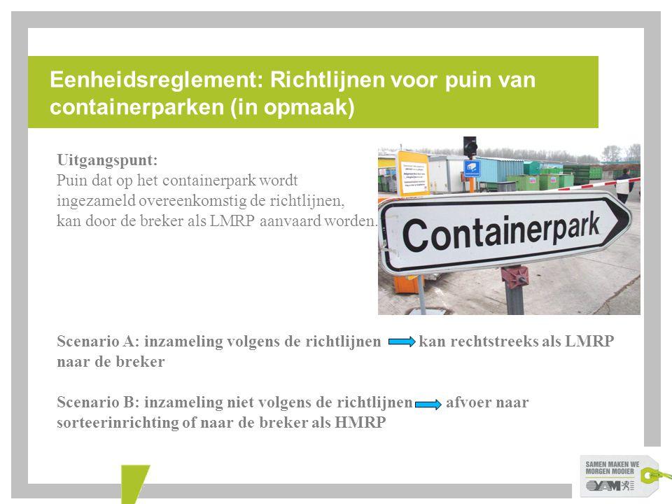 Eenheidsreglement: Richtlijnen voor puin van containerparken (in opmaak)