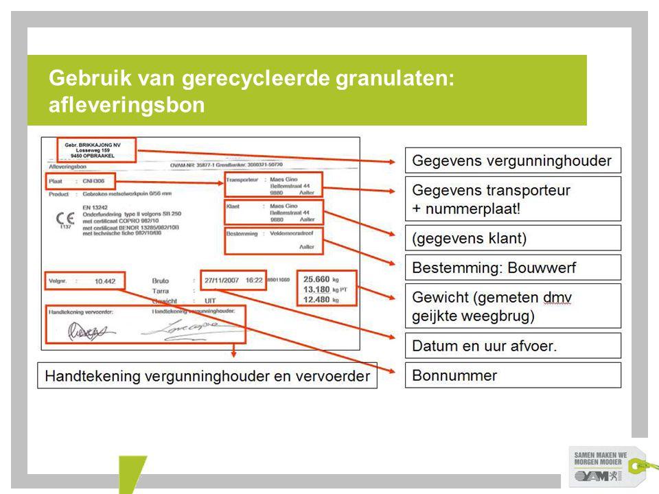 Gebruik van gerecycleerde granulaten: afleveringsbon