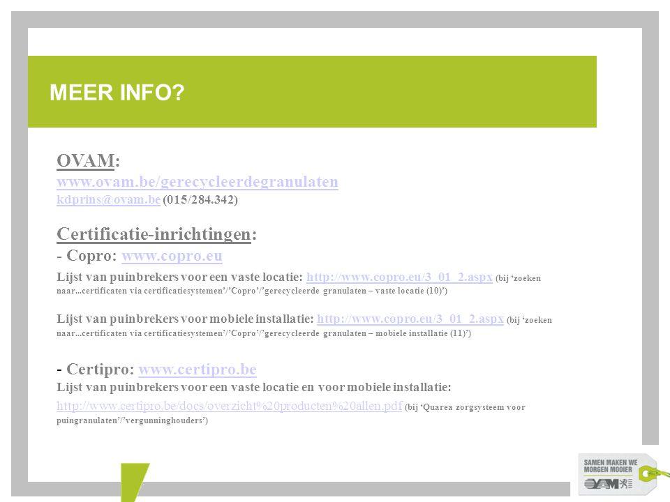 MEER INFO OVAM: Certificatie-inrichtingen: