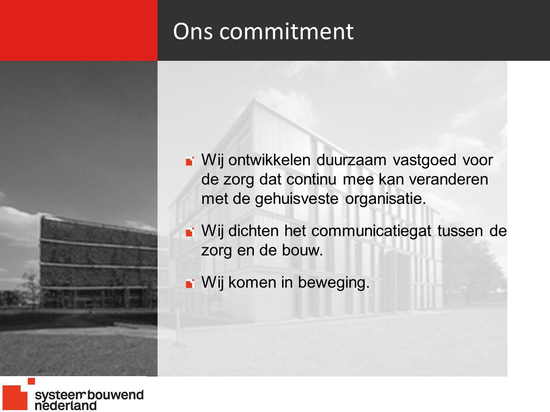 Ons commitment 21-06-10. Wij ontwikkelen duurzaam vastgoed voor de zorg dat continu mee kan veranderen met de gehuisveste organisatie.