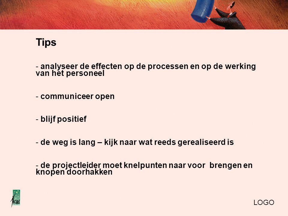 Tips analyseer de effecten op de processen en op de werking van het personeel. communiceer open. blijf positief.
