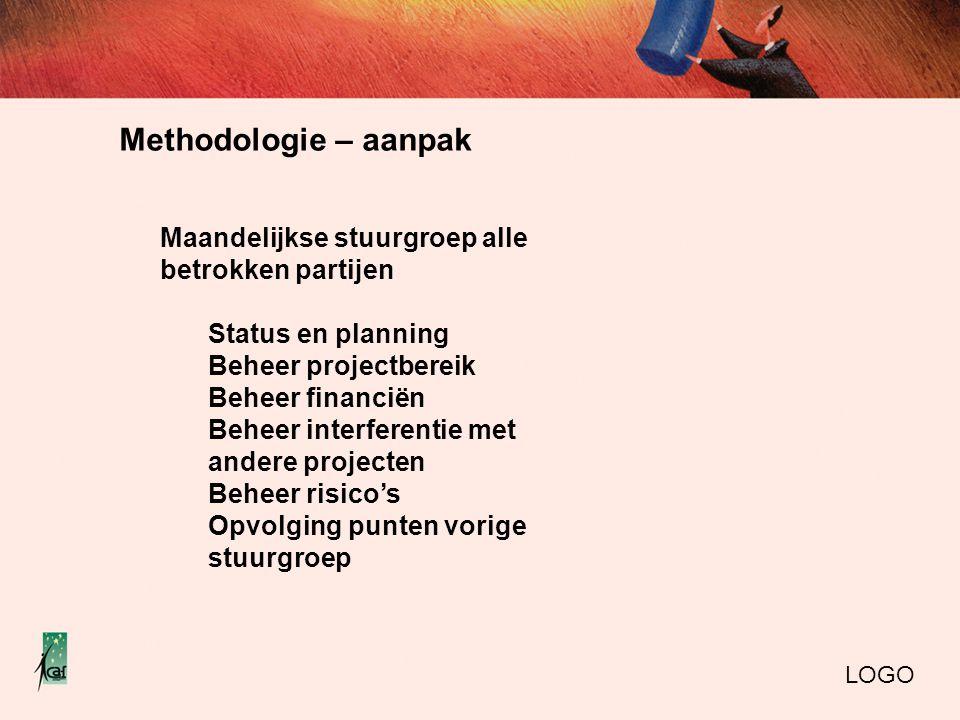 Methodologie – aanpak Maandelijkse stuurgroep alle betrokken partijen