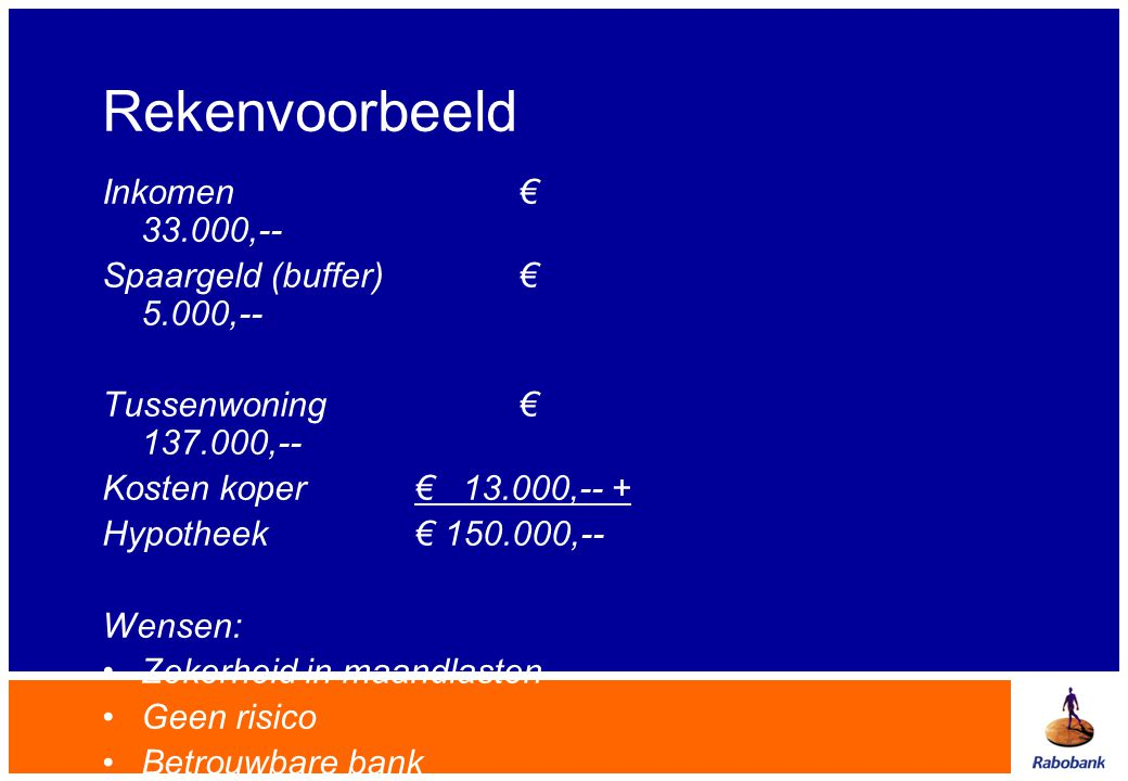 Rekenvoorbeeld Inkomen € 33.000,-- Spaargeld (buffer) € 5.000,--