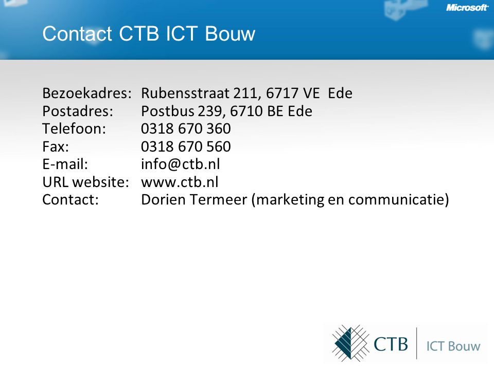 Contact CTB ICT Bouw