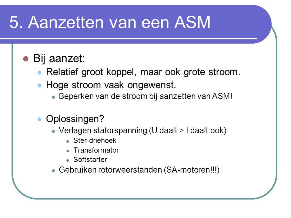 5. Aanzetten van een ASM Bij aanzet: