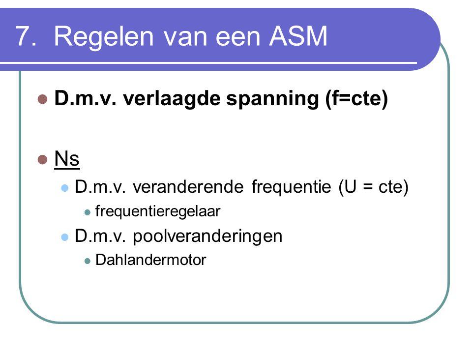 7. Regelen van een ASM D.m.v. verlaagde spanning (f=cte) Ns