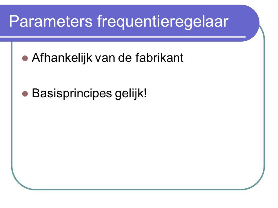 Parameters frequentieregelaar