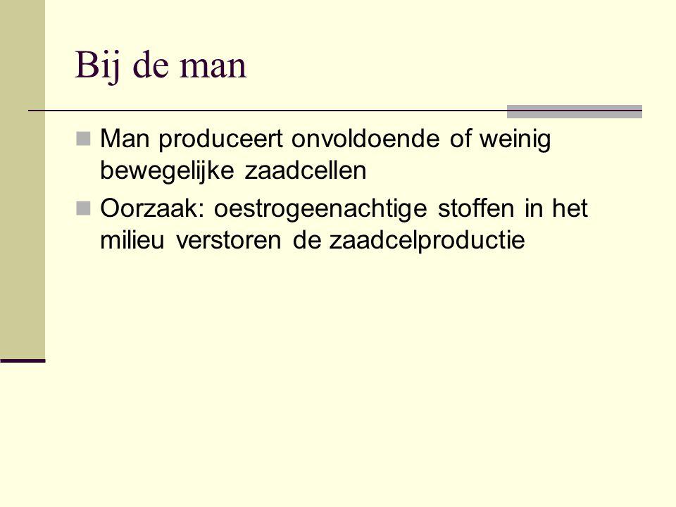 Bij de man Man produceert onvoldoende of weinig bewegelijke zaadcellen