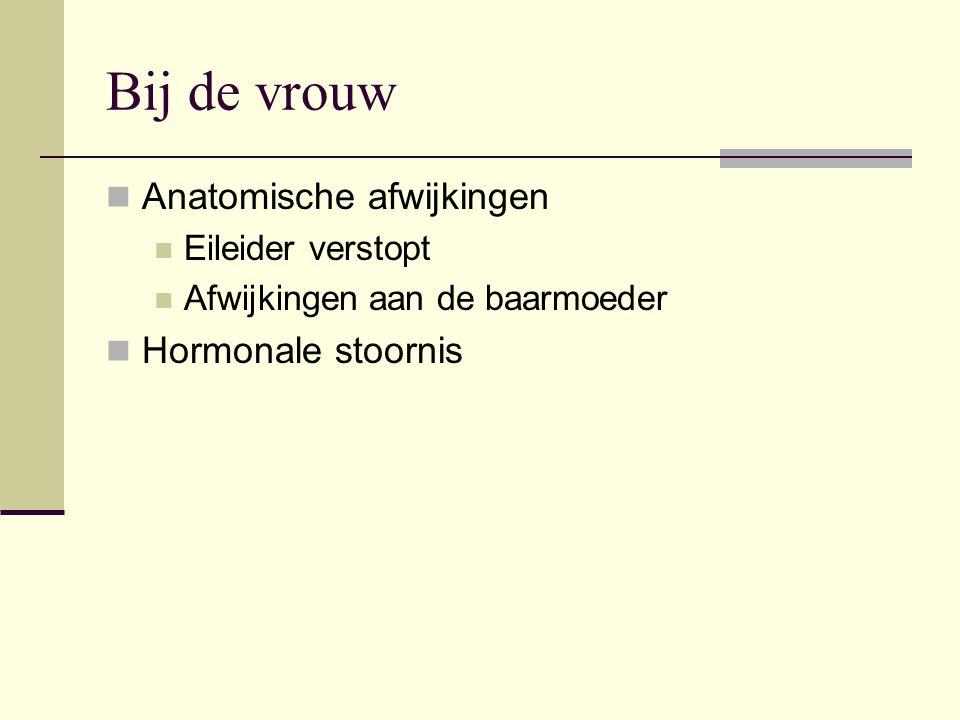 Bij de vrouw Anatomische afwijkingen Hormonale stoornis