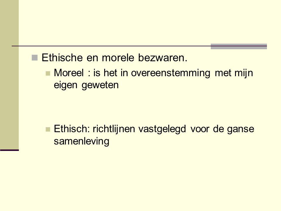 Ethische en morele bezwaren.