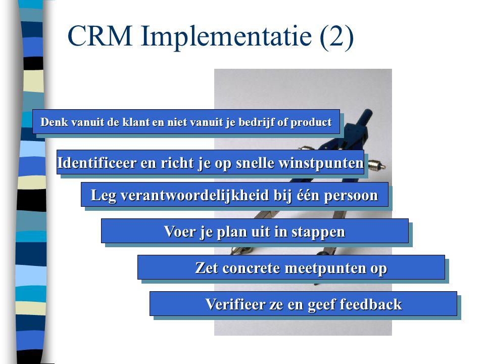 CRM Implementatie (2) Identificeer en richt je op snelle winstpunten
