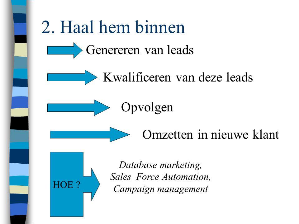 2. Haal hem binnen Genereren van leads Kwalificeren van deze leads