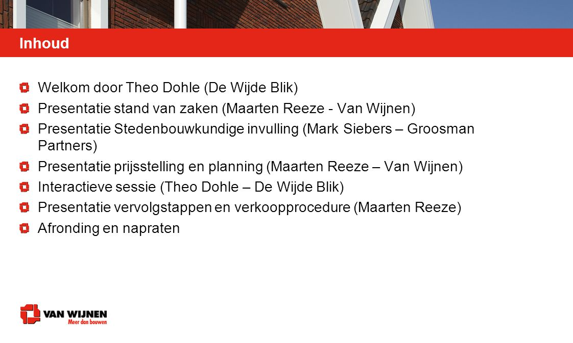 Inhoud Welkom door Theo Dohle (De Wijde Blik)