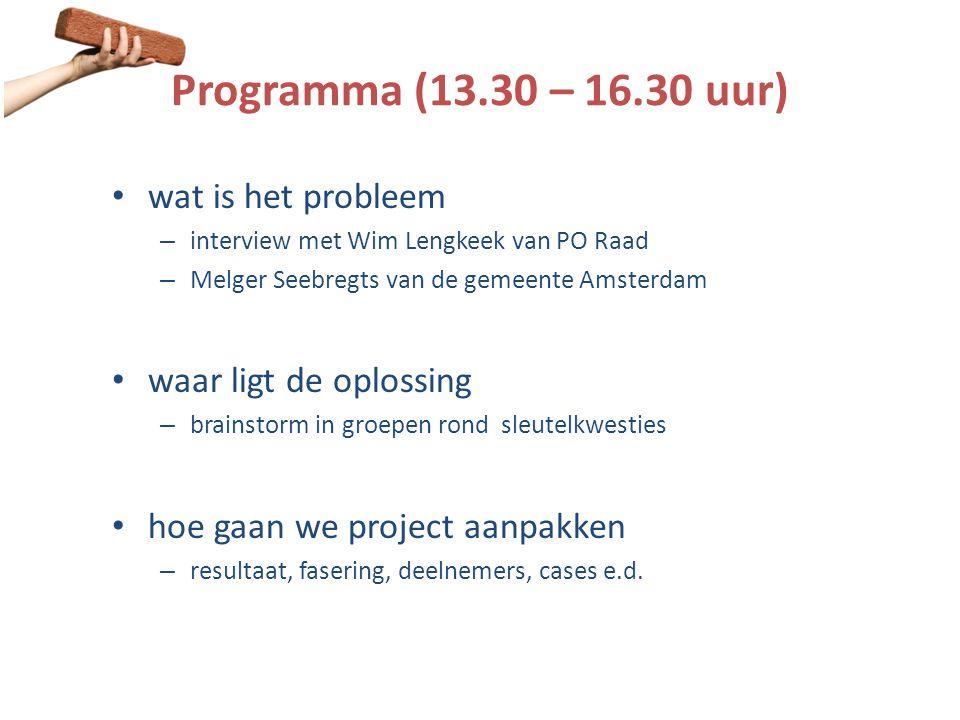 Programma (13.30 – 16.30 uur) wat is het probleem