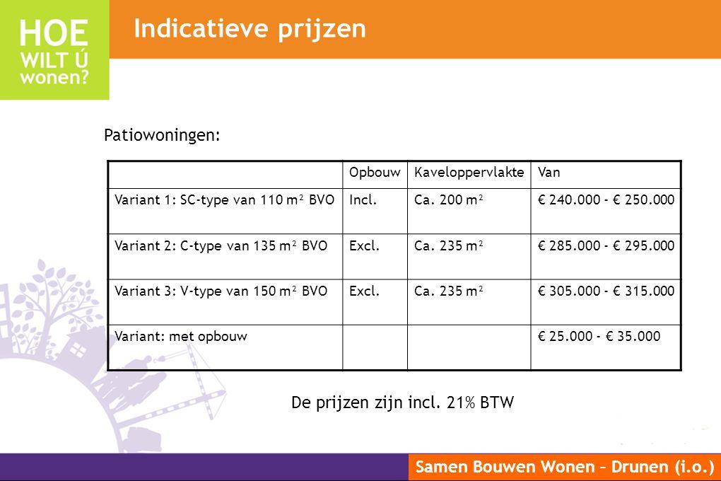 Indicatieve prijzen Patiowoningen: De prijzen zijn incl. 21% BTW