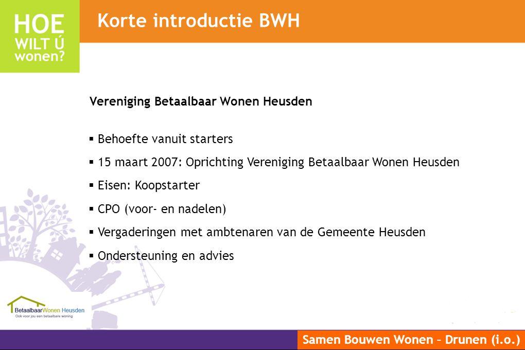 Korte introductie BWH Vereniging Betaalbaar Wonen Heusden