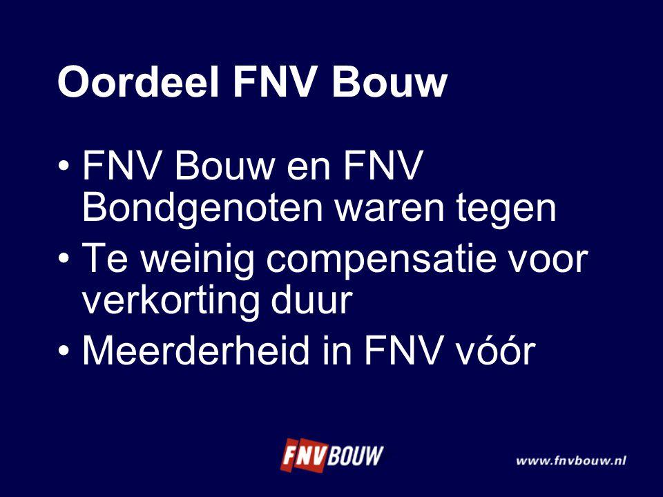 Oordeel FNV Bouw FNV Bouw en FNV Bondgenoten waren tegen