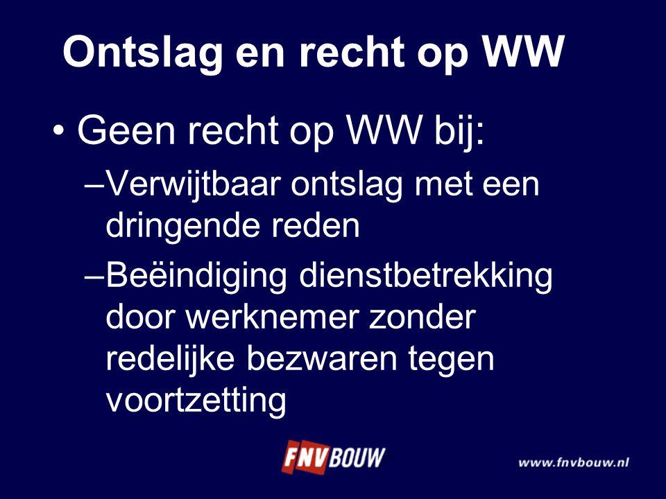 Ontslag en recht op WW Geen recht op WW bij: