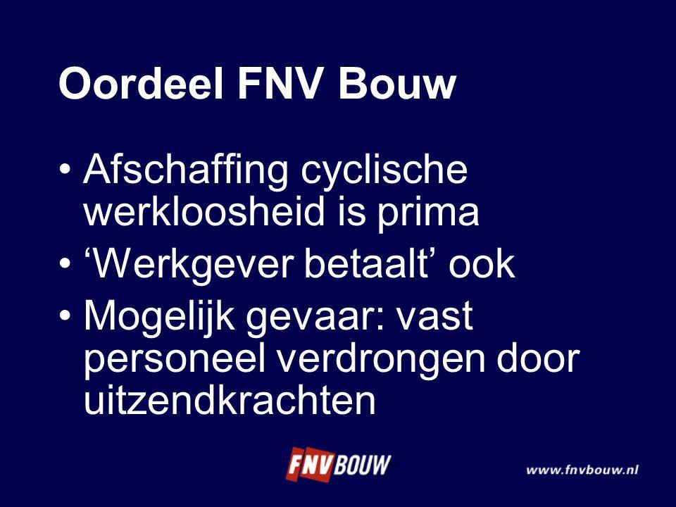 Oordeel FNV Bouw Afschaffing cyclische werkloosheid is prima