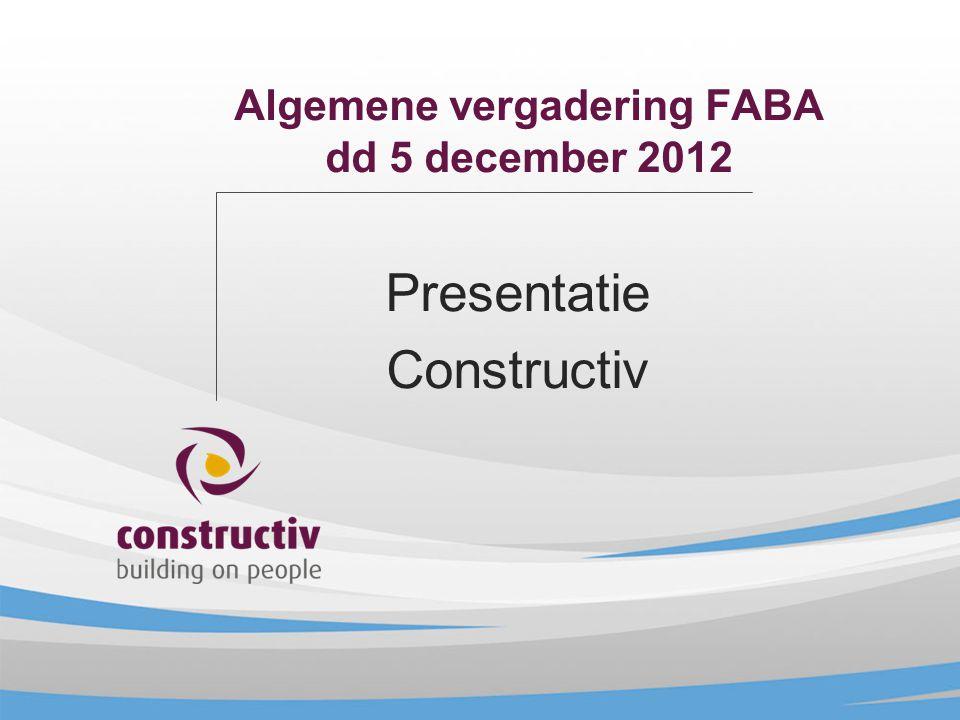 Algemene vergadering FABA dd 5 december 2012